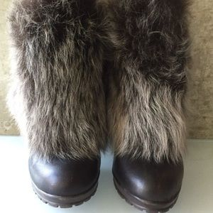 Zara leather and faux fur booties 39